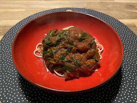 Spaghetti met Stoofvlees en Spinazie