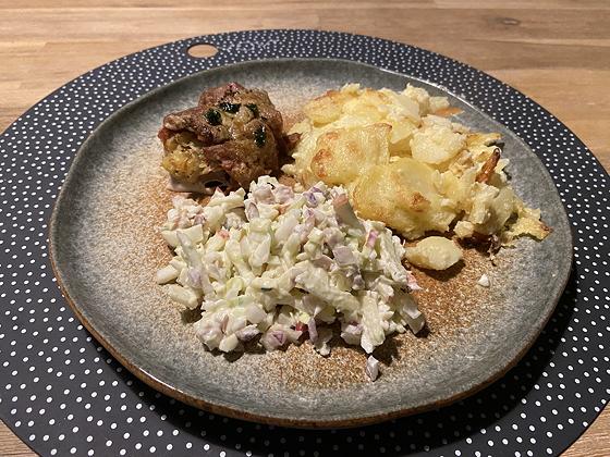 Elzasser kwartetje met Aardappelgratin en Koolsalade