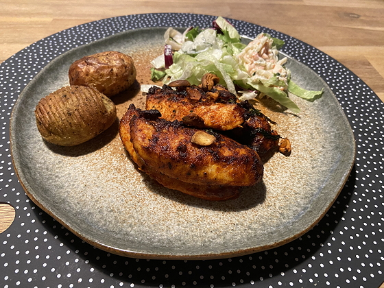 Kip Tandoori met Salade en Hasselback Aardappeltjes