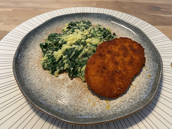 Spinazie met Vegetarische Zigeunerschnitzel