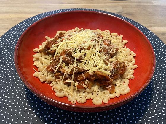 Macaroni met Gehakt, Champignons en Tomaat