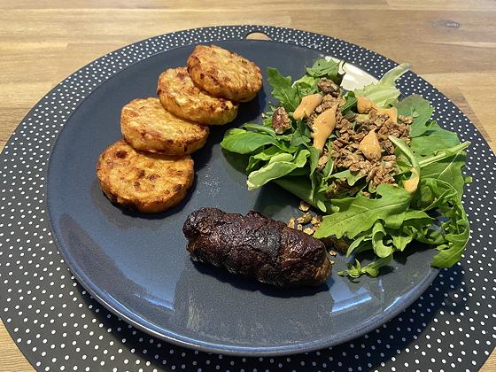 Rundervink met Röstirondjes en Salade