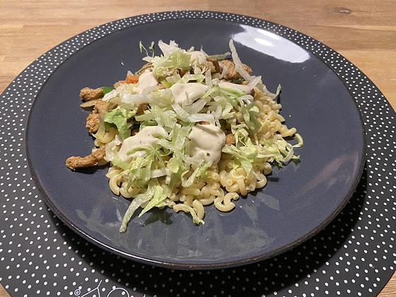 Macaroni met Vegetarische Gyros