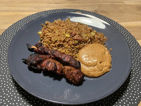 Nasi Keboeli met Saté Kambing