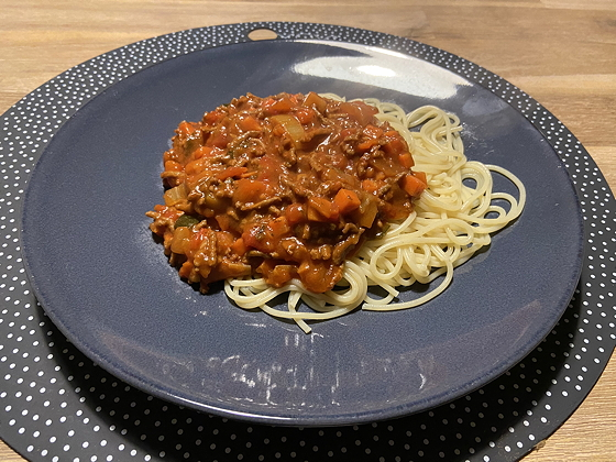 Spaghetti met saus uit een zakje