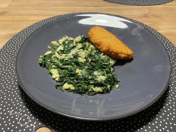 Spinaziestamppot met Vegetarische Satéschnitzel