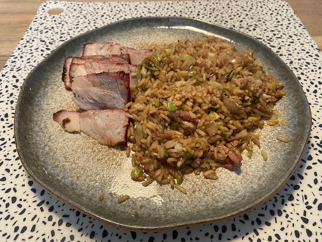 Nasi Keboeli met Char Siu van de BBQ