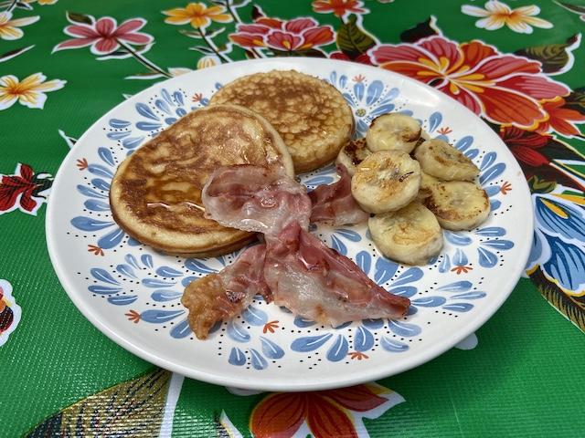 American Pancakes met Spek en Banaan