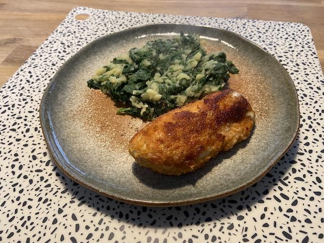 Spinazie met Kip Cordon Bleu en Gevulde Kipfilet