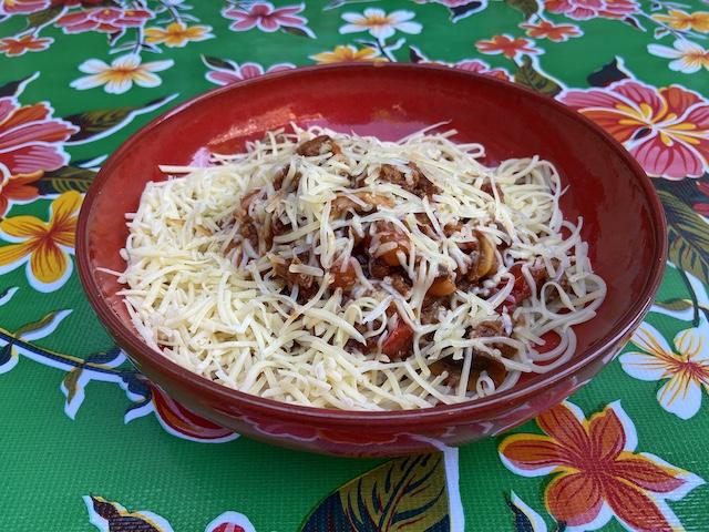 Spaghetti met Kipgehakt, Champignons en Tomaat