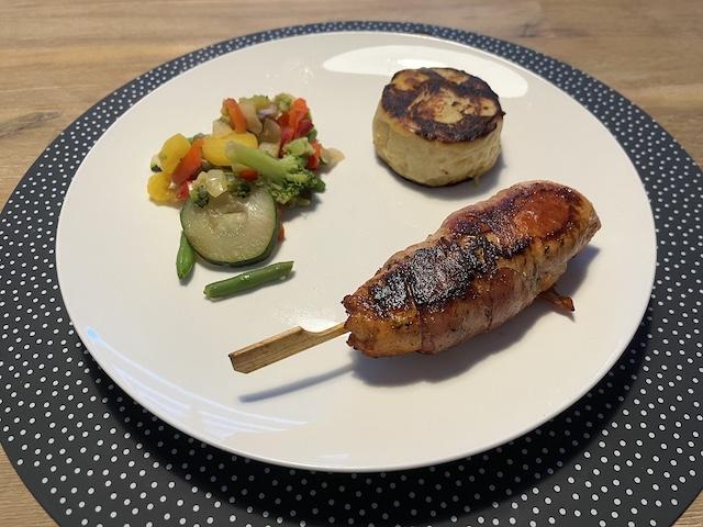 Kip op Stok met Aardappelgratin en Italiaanse groente van de BBQ